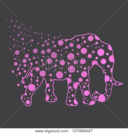 Illustration. An elephant with polka dots. Sketch.
