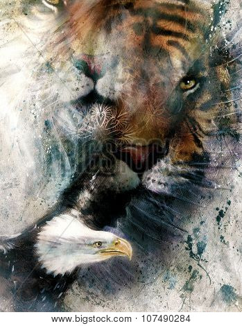 painting of eagle and tiger,  abstract background, color with spot structures..