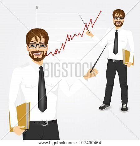 young hipster businessman presenting