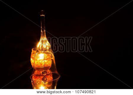 Ornate Glass Bell Isolated On A Black Background