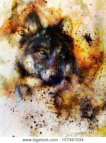 Wolf painting, color background, multicolor illustration.