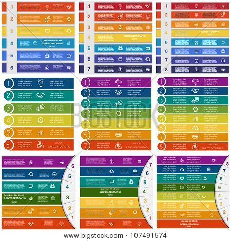 Infographic Templates On 6, 7, 8 Positions