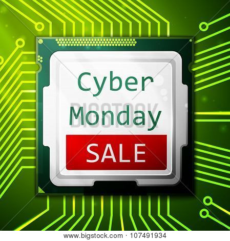 Cyber Monday Sale poster, electronic circuit board with processor