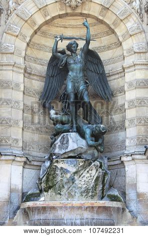 Saint Michael fountain in Paris