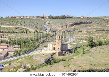 Outskirts Of City Segovia And Temple Of The Knights Templar