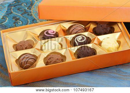 Box of assorted white, milk and dark chocolates, pralines and truffles