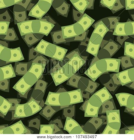 Money Seamless Pattern. Cash Background. Money Rain. Flying Dollars. 3D Texture Of Cash. Financial R