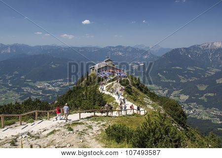 BERCHTESGADEN, GERMANY - AUGUST 13, 2015: The Kehlsteinhaus (also known as the Eagle's Nest) on top of the Kehlstein at 1.834m is the formerly Hitler's home and southern headquarters the Eagle's Nest is located close to Berchtesgaden