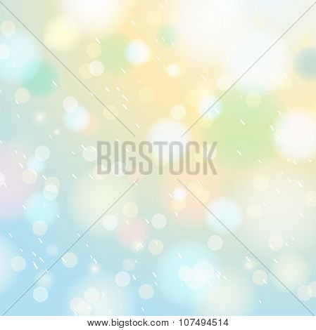 Bright Shine Background With Bokeh And Snowflakes, Vector