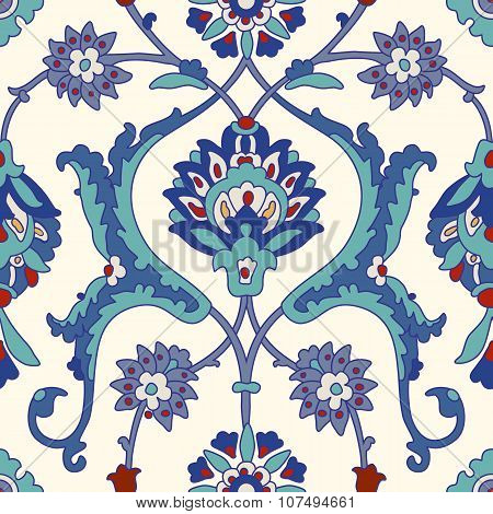 Traditional Arabic  ornament seamless. Floral Ornamental pattern. Iznik .Vector.  Background