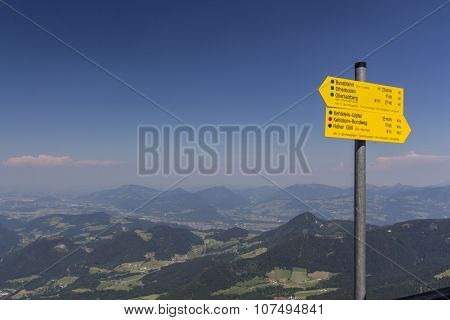 Guidepost At The Eagle's Nest At The Kehlstein In Germany, 2015