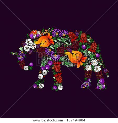 Elephant.vector In Ukrainian Traditional Painting