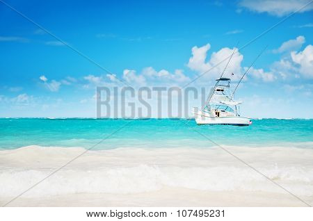 Carribean Sea And Sailing Yacht Near The Coastline Of Punta Cana, Dominican Republic