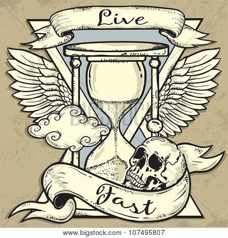 Hourglass and Skull tattoo design