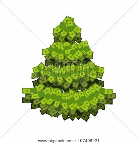 Christmas Tree From Dollar. Tree Out Of Money. Plants Grow In Cash. Currency Green Plant. Tree For W