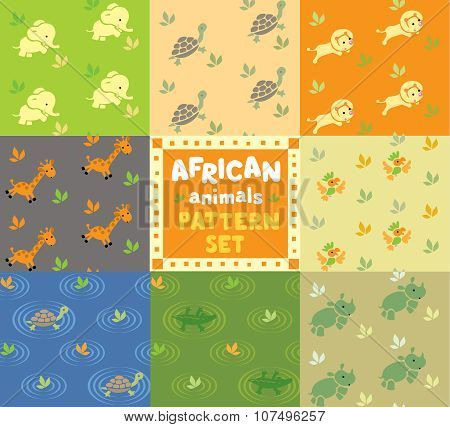 Seamless pattern set with funny african animals