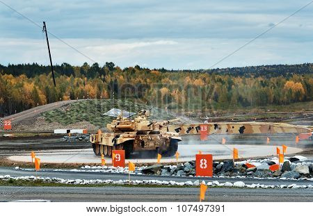 Modernized Main Battle Tank T-90S On Turning Area