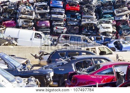 Indianapolis - November 2015: A Pile Of Stacked Junk Cars IV