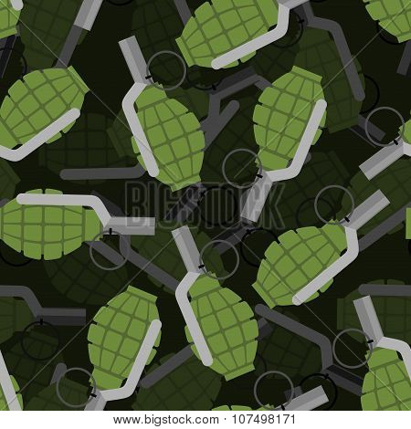 Hand Grenade 3D Seamless Pattern. Bomb, Explosive Background. Many Of Explosive Ordnance. Ornament M