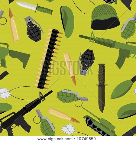 Military Seamless Pattern. Army Background Objects. Weapons And Ammunition Texture. Tank And Automat
