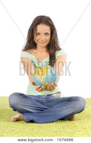 Woman Sitting On The Green Carpet - Giving Globe