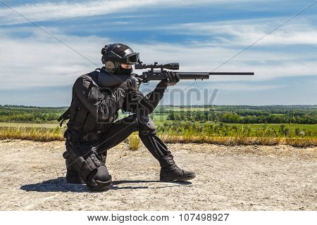 Police sniper in action
