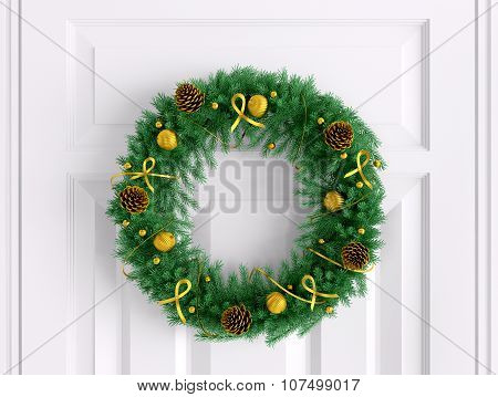 Christmas Wreath On The White Door 3D Rendering
