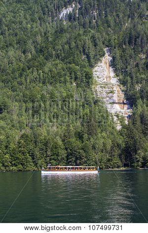 Pleasure Boat On The Koenigssee Lake Close To Berchtesgaden, Germany, 2015