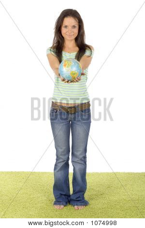 Woman Standing On The Green Carpet - Giving Globe