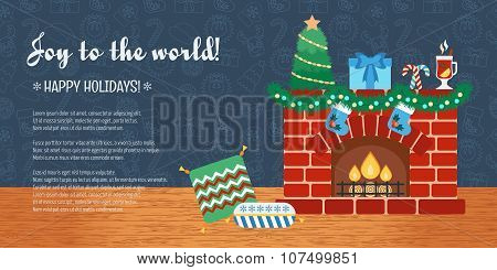 Christmas Attributes. Christmas Holidays. Horizontal Christmas Gift Card. Joy To The World. Flat Des