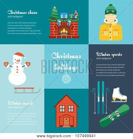 Vector Concept Of Christmas And Winter Holidays. Christmas And Winter Attributes. Icons In The Flat