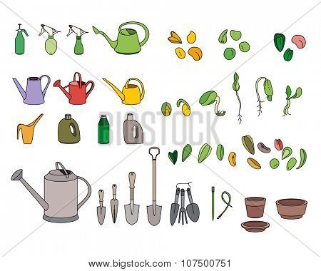 Set with seeds, garden tools and equipment. For your design, announcements, postcards, posters.