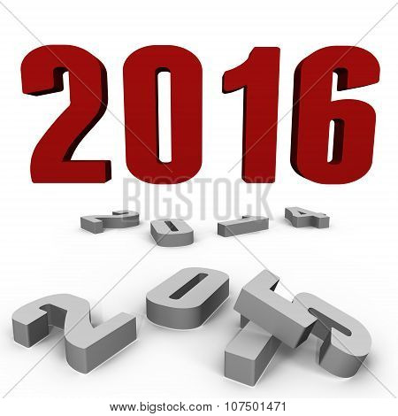 New Year 2016 over the past ones - a 3d image