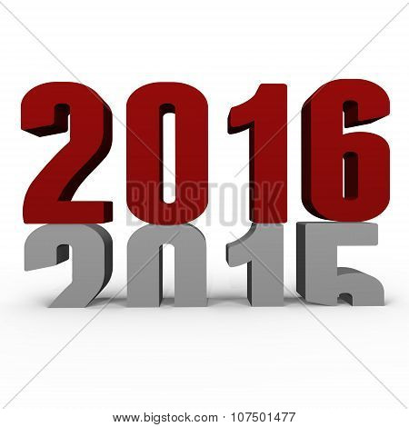 New Year 2016 pushing 2015 down - a 3d image