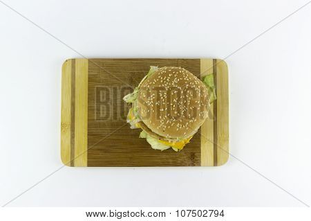 Hamburger On A Chopping Table
