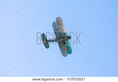 Retro Russian Aeroplane Polikarpov Po-2 In The Blue Sky