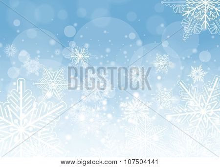 Winter frozen background with snowflakes, vector christmas illustration.