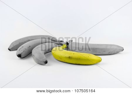 Five Bananas On A White Background