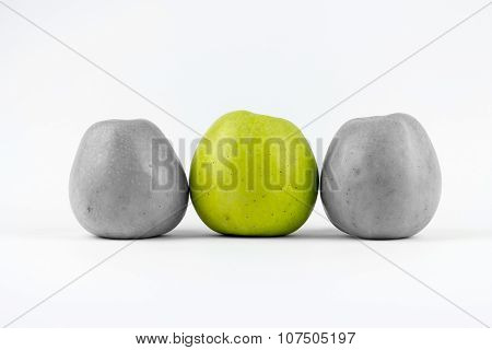 Three Green Apples On A White Background
