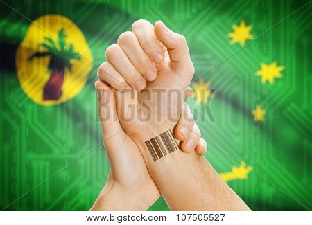 Barcode Id Number On Wrist And National Flag On Background - Cocos (keeling) Islands