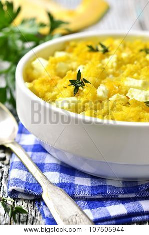 Spicy Millet Casserole With Pumpkin And Feta.
