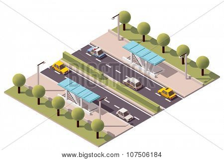 Isometric subway crossing under the highway