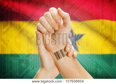 Barcode Id Number On Wrist And National Flag On Background - Ghana