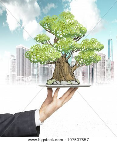 A Hand In Formal Suit Holds A Tablet With A Sketched Tree. New York Sketch On Background. A Concept