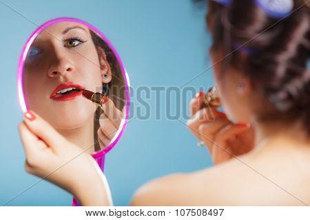 Girl Applying Make Up Red Lipstick
