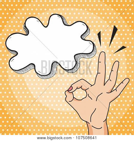 Okay Vector Illustration In Pop Art Comic Style, Woman Hand Showing Ok Gesture