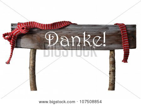 Brown Isolated Christmas Sign Danke Mean Thank You, Red Ribbon