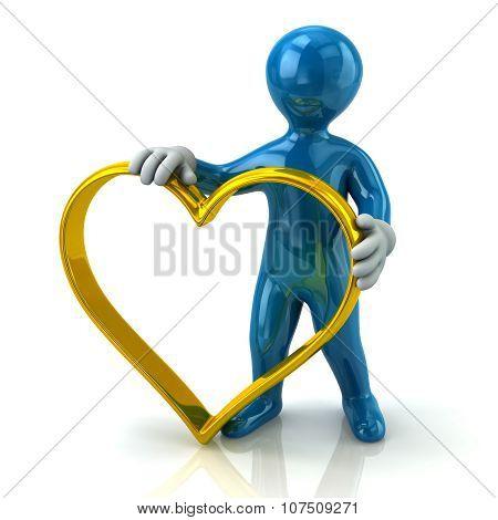 Blue Man Holding Heart Shape Golden Ring