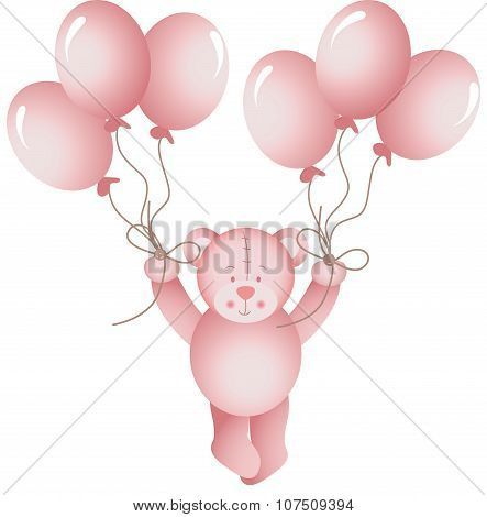 Baby girl teddy bear flying holding a balloons