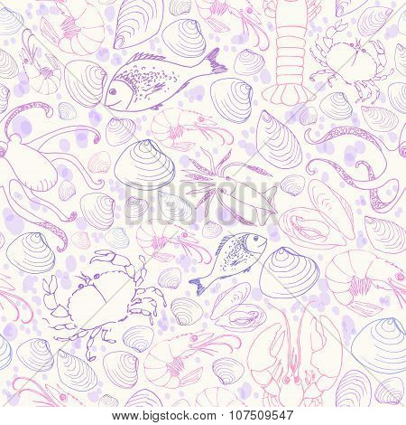 Vector Doodle Seafood Seamless Pattern In Blue And Purple Colors.
